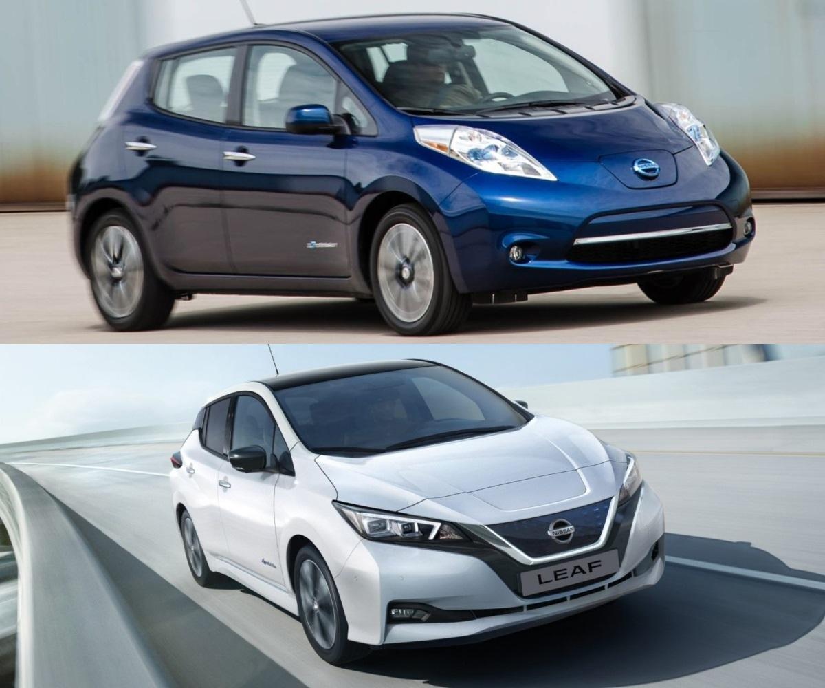 Arriba, primera generación del Nissan Leaf. Abajo, la segunda